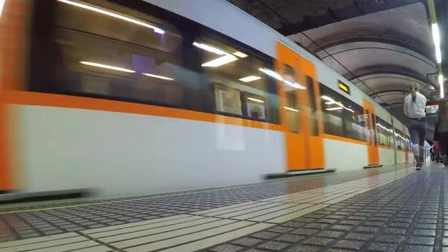 Train Arrives At Underground Station: Stock Video