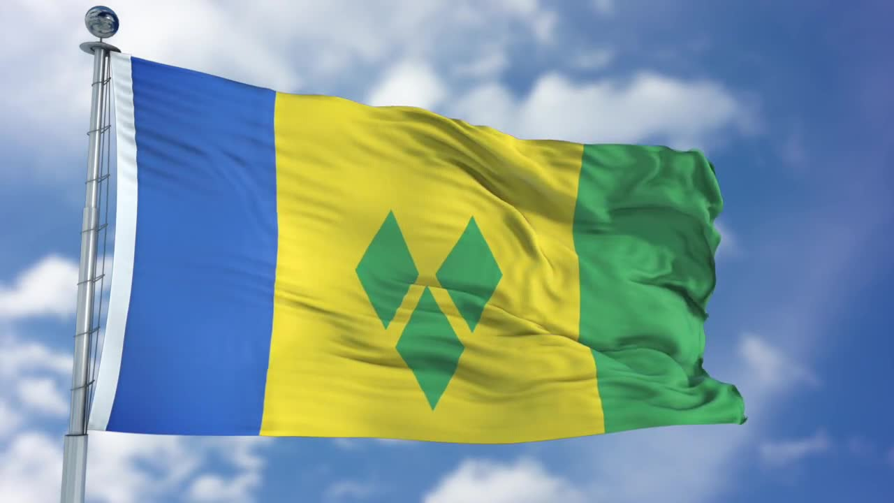Saint Vincent And The Grenadines Flag - Stock Motion Graphics