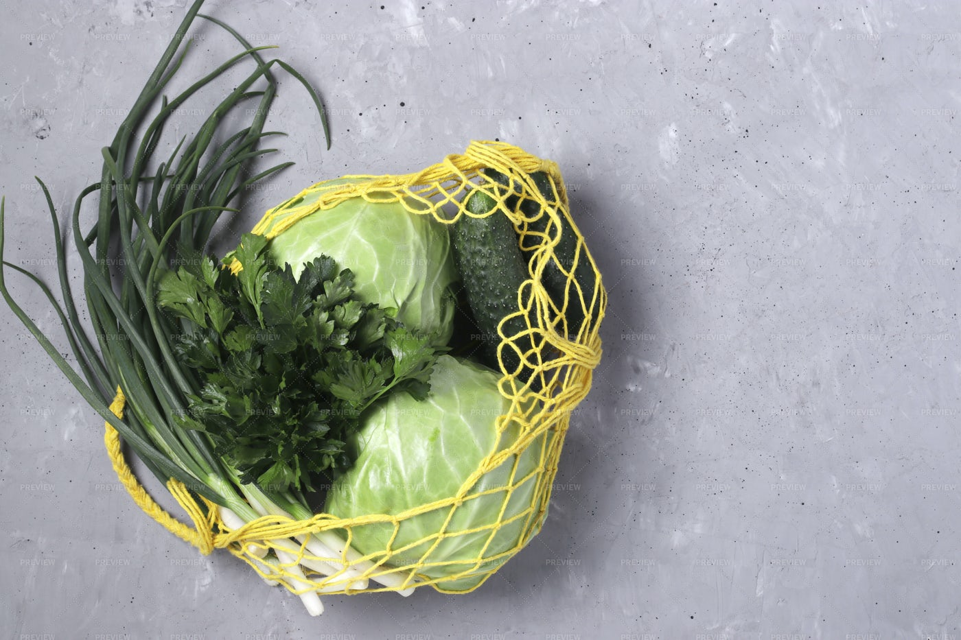 Mesh Bag Of Green Vegetables: Stock Photos