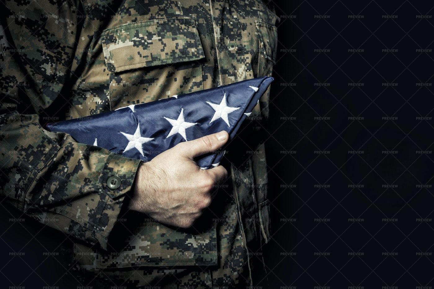 Folded Flag Close-Up: Stock Photos
