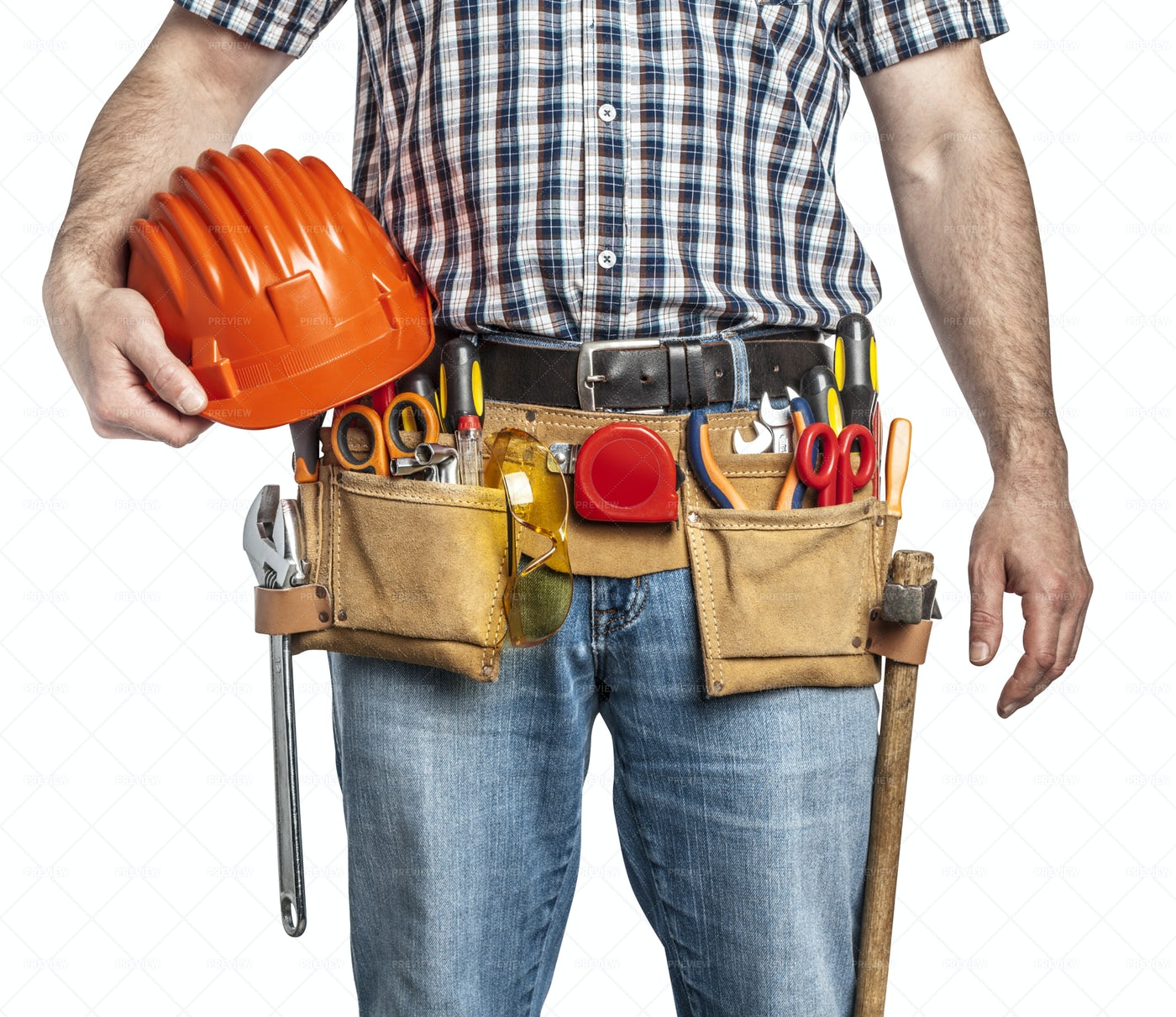 Handyman And Toolbelt Detail: Stock Photos