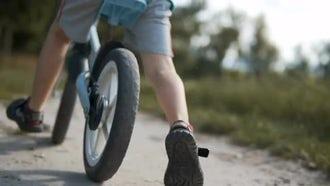 Boy Runs With Bike: Stock Video