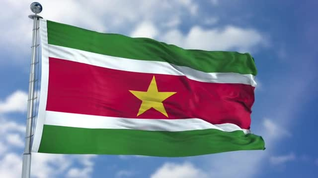 Suriname Flag Animation: Stock Motion Graphics