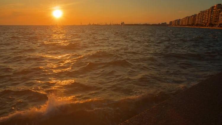 Golden Sea In Thessaloniki, Greece: Stock Video