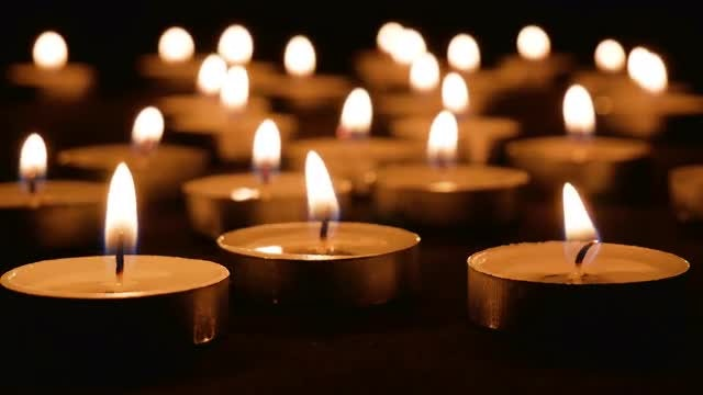 Candles Burning In Dark Room: Stock Video
