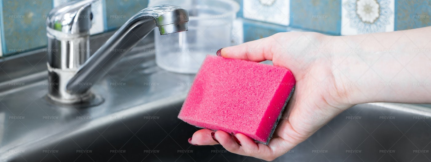 Washing Dishes With A Sponge: Stock Photos
