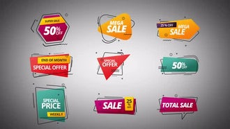 Shapes Price Labels: After Effects Templates