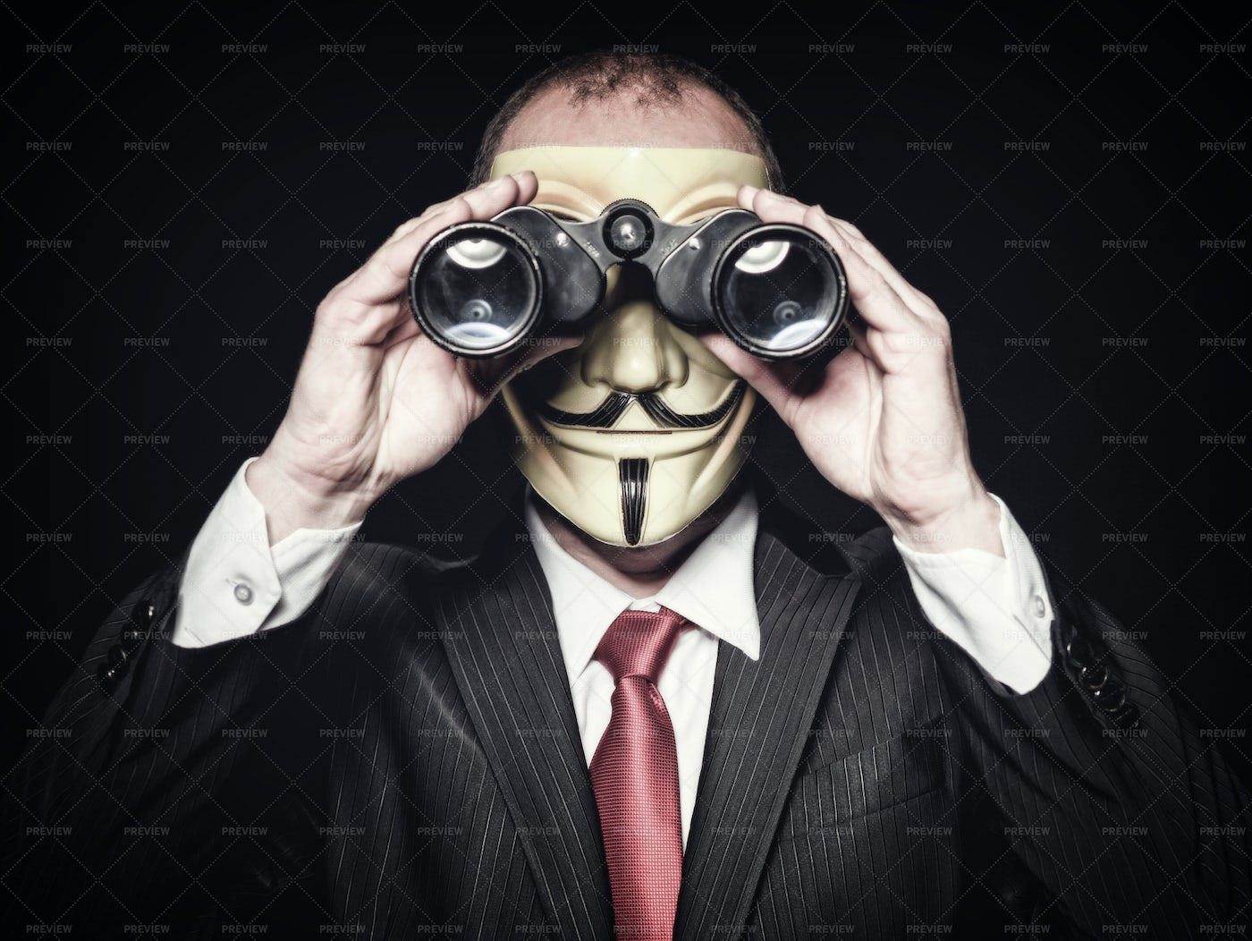 Hacker With Binoculars: Stock Photos