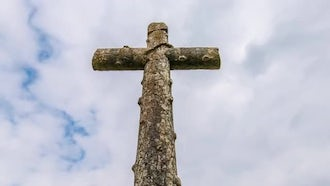 Tall Old Wooden Cross: Stock Video