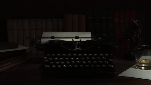 Vintage Typewriter And Electric Fan: Stock Video