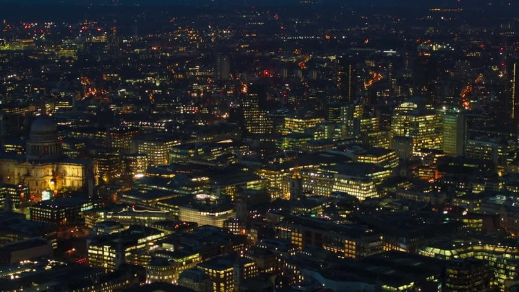 Central London At Night, England, UK: Stock Video