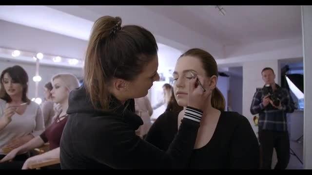 Applying Makeup On Beautiful Girl: Stock Video