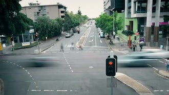 Busy Intersection In Brisbane: Stock Footage