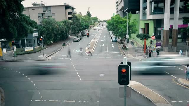 Busy Intersection In Brisbane: Stock Video