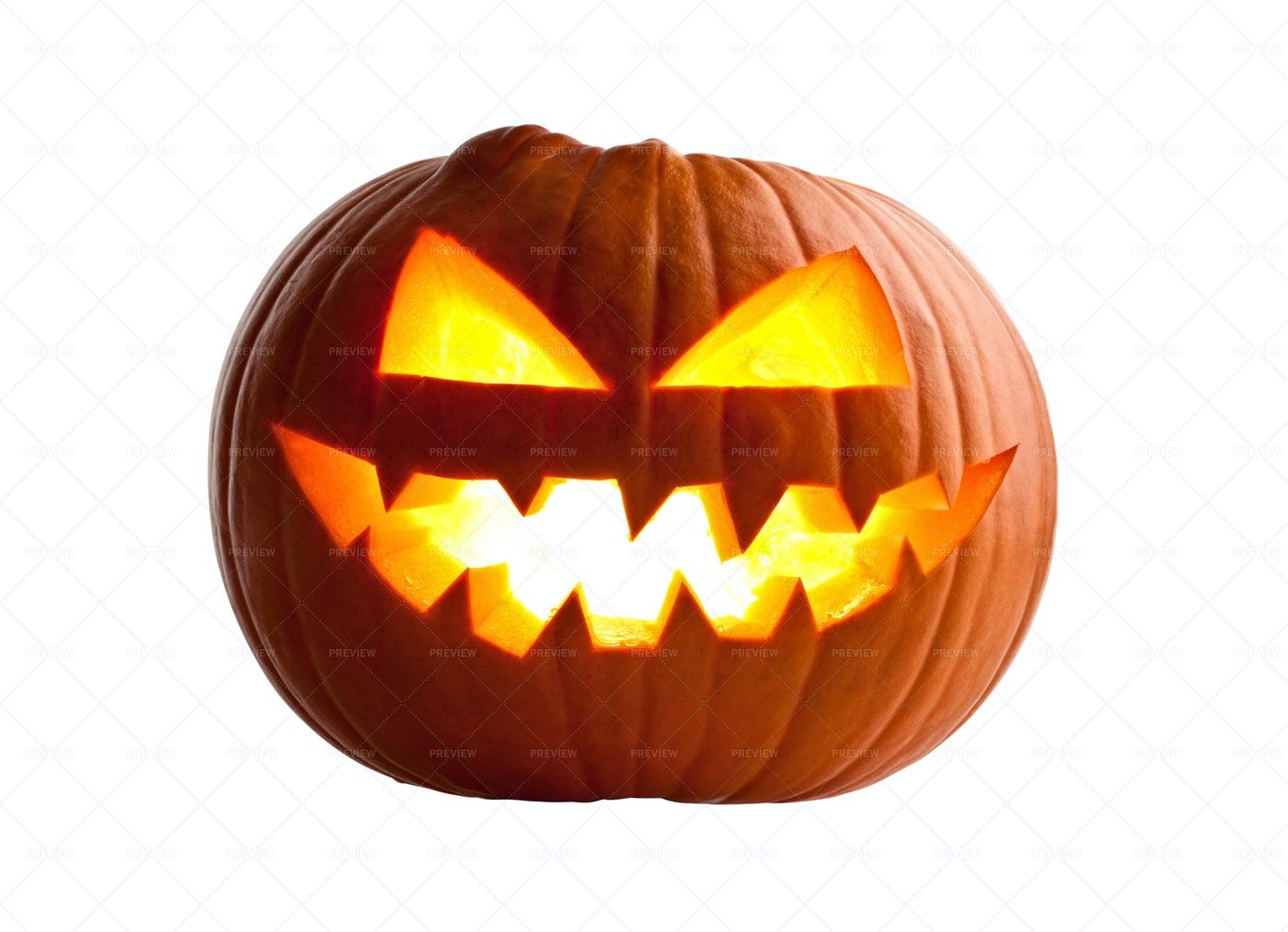 Carved Halloween Pumpkin On White: Stock Photos