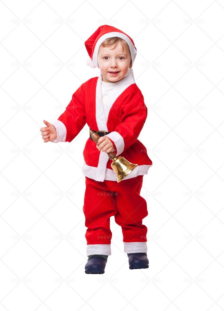 Child Santa On White: Stock Photos