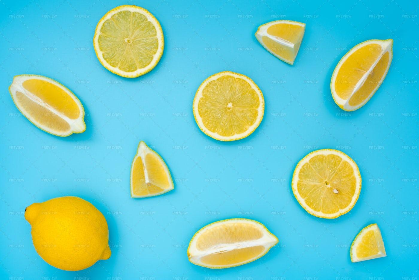 Variety Of Lemon Slices On Blue: Stock Photos