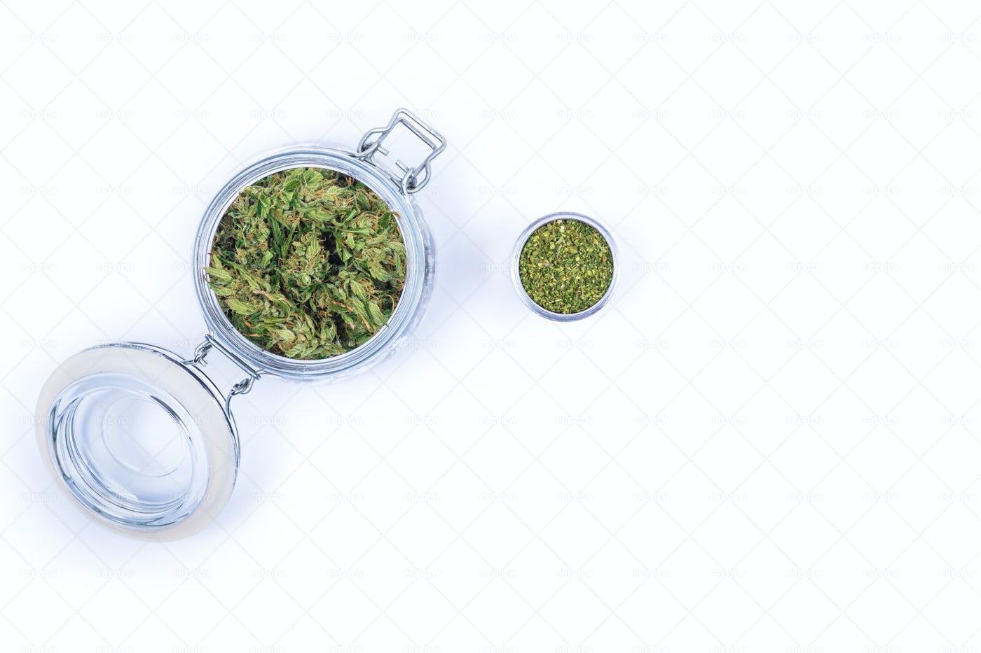Jar Of Marijuana Buds: Stock Photos