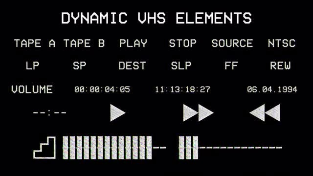 24 VHS Elements : Stock Motion Graphics