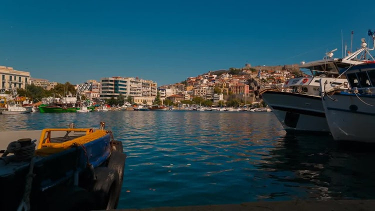 Panoramic Shot of Kavala City: Stock Video