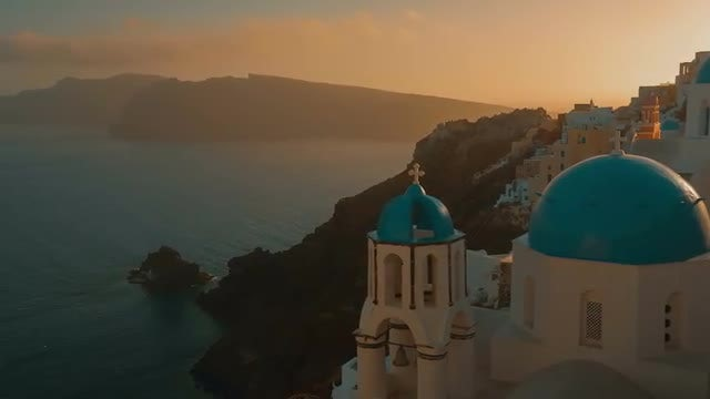 Establishing Shot Of Santorini Island: Stock Video