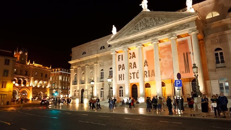 Outside National Theater In Lisbon: Stock Video