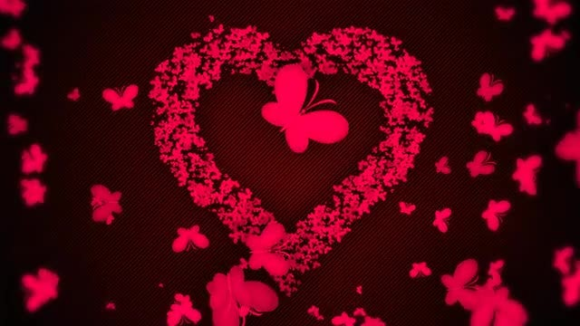 Hearts And Butterflies of Love: Stock Motion Graphics
