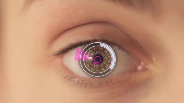 Cyborg Girl With Digital Eye: Stock Video