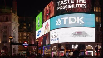 Time-Lapse Of An Electronic Billboard : Stock Video