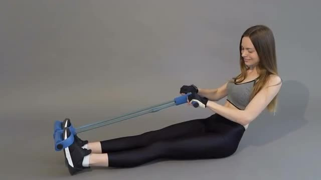Woman Exercising With Curl Rope: Stock Video