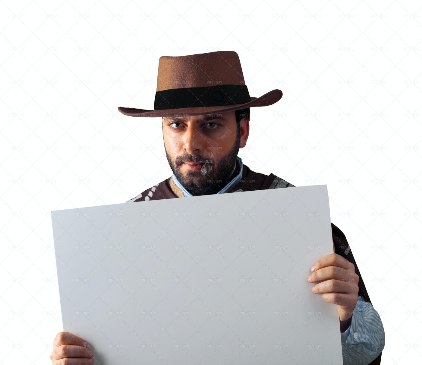 Western Gunman With A Sign: Stock Photos
