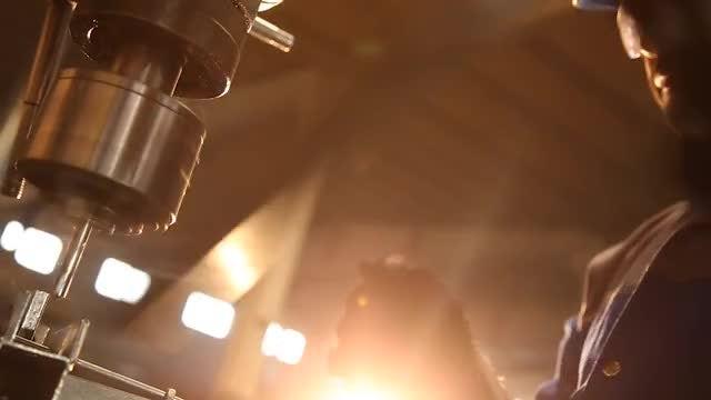 Factory Worker Drilling Metal: Stock Video