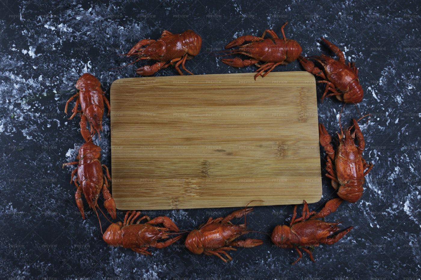 Red Crayfish Layout: Stock Photos