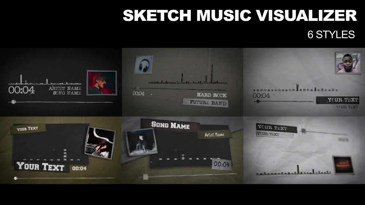 6 Sketch Music Visualizer - After Effects Templates | Motion