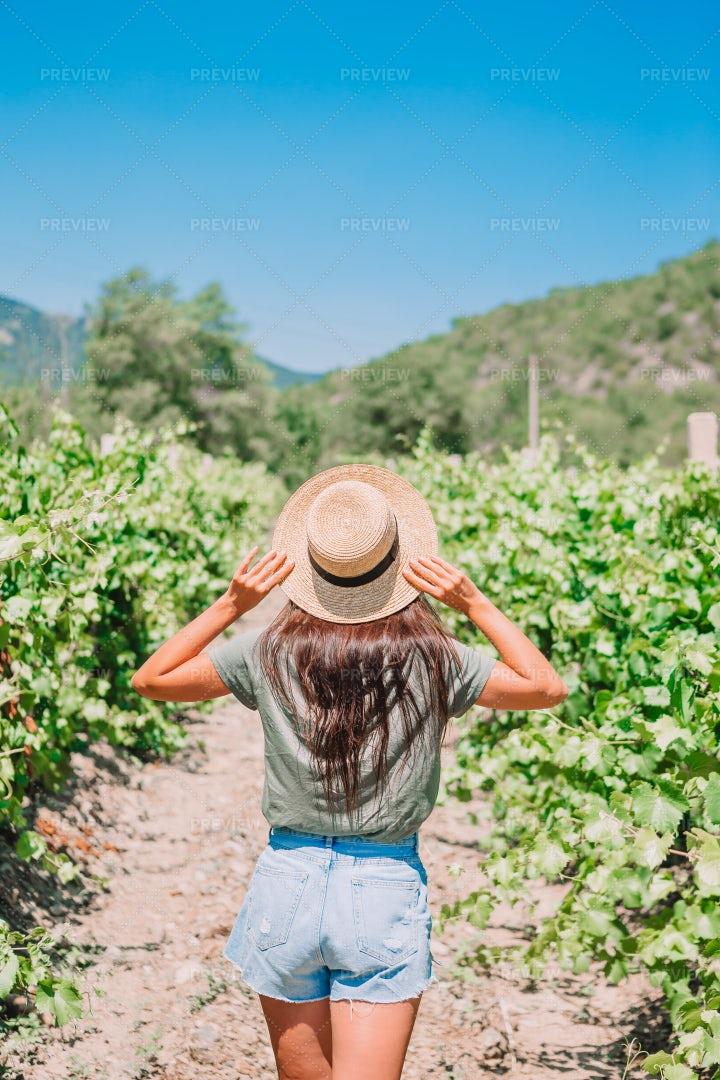 Girl In Hat In Vineyard: Stock Photos
