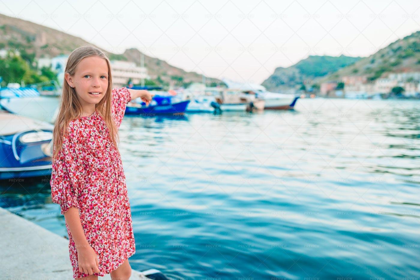 Girl At The Port: Stock Photos