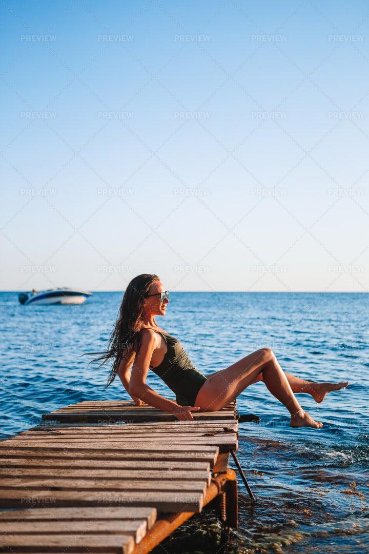 Woman On Beach: Stock Photos