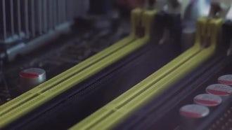 RAM Slots In Circuit Board: Stock Video