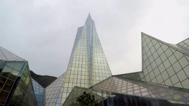 Time-lapse Of Big Glass Building: Stock Video
