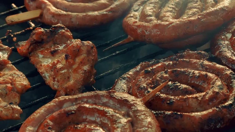 Close-up Shot Of Delicious Barbecue : Stock Video