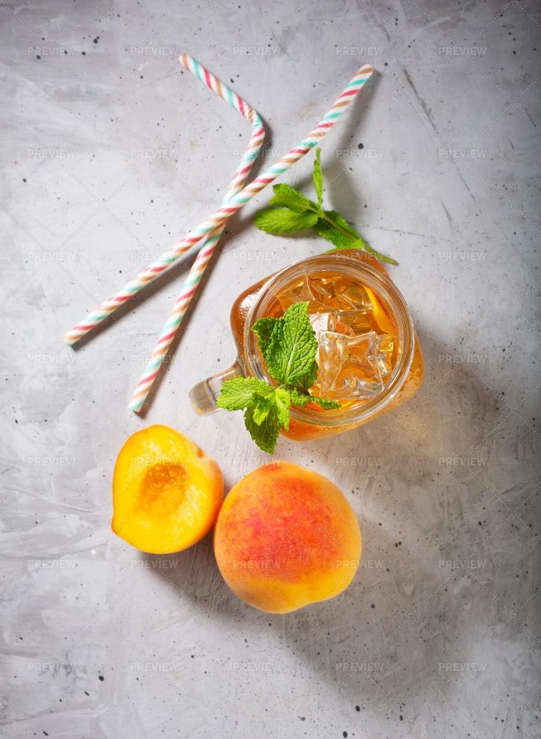 Peach Ice Tea Top View: Stock Photos