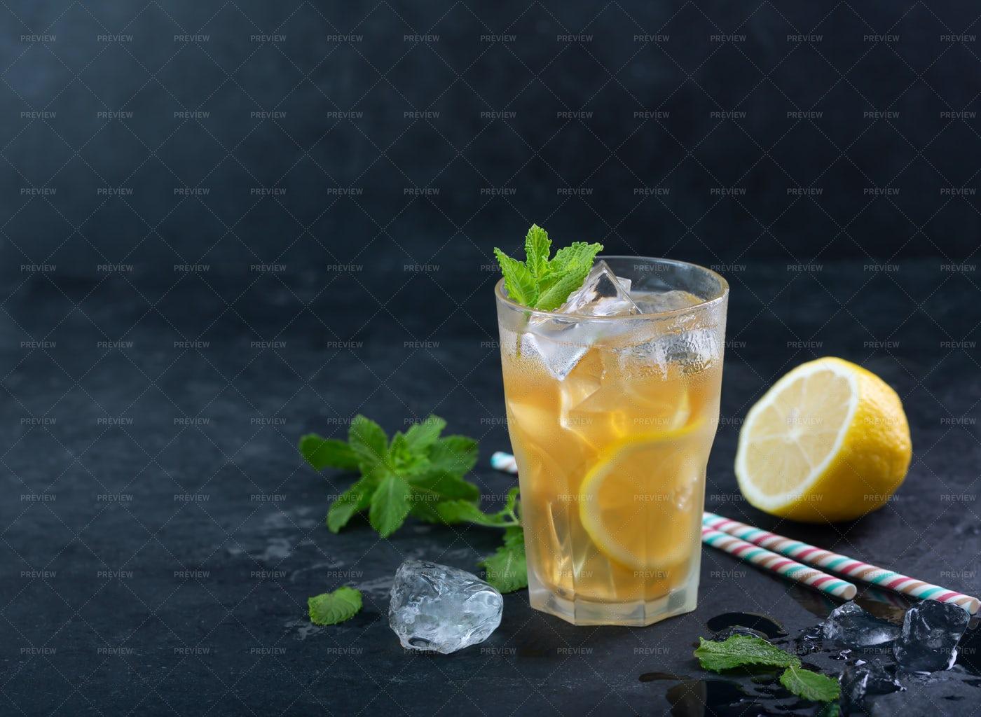 Lemon Ice Tea Background: Stock Photos