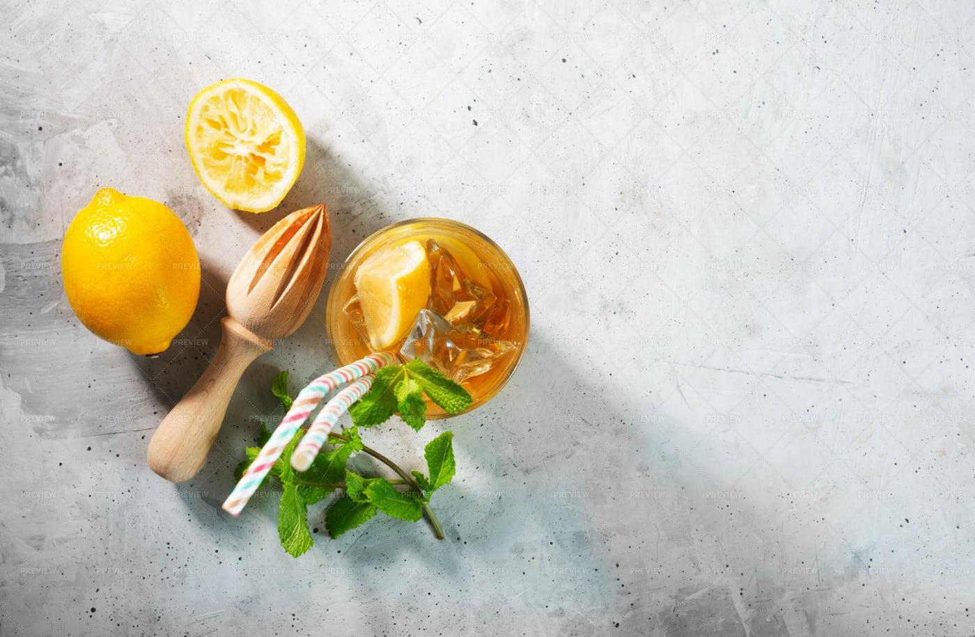 Lemon Ice Tea On Gray Background: Stock Photos