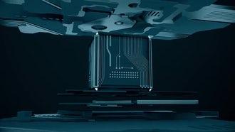 Blue Tech Cube Loop: Motion Graphics