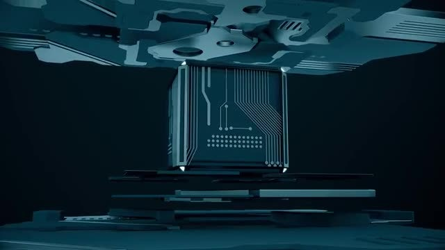 Blue Tech Cube Loop: Stock Motion Graphics
