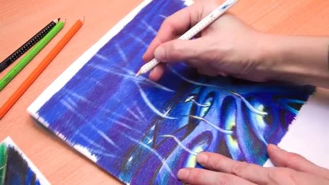 Fine Artist Drawing Colorful Designs: Stock Video