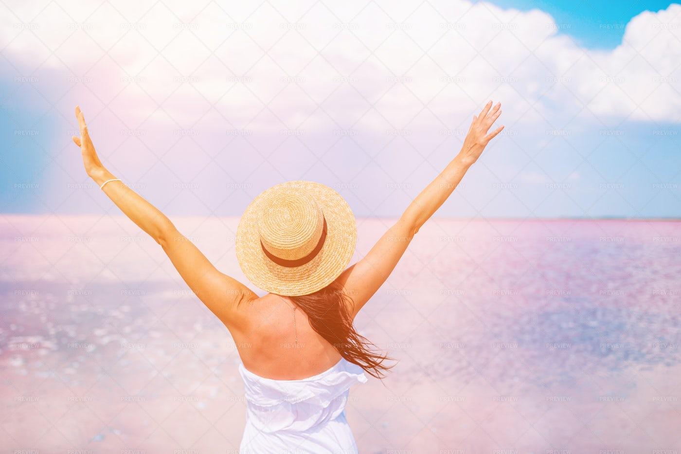 Woman Enjoying Breeze At Lake: Stock Photos