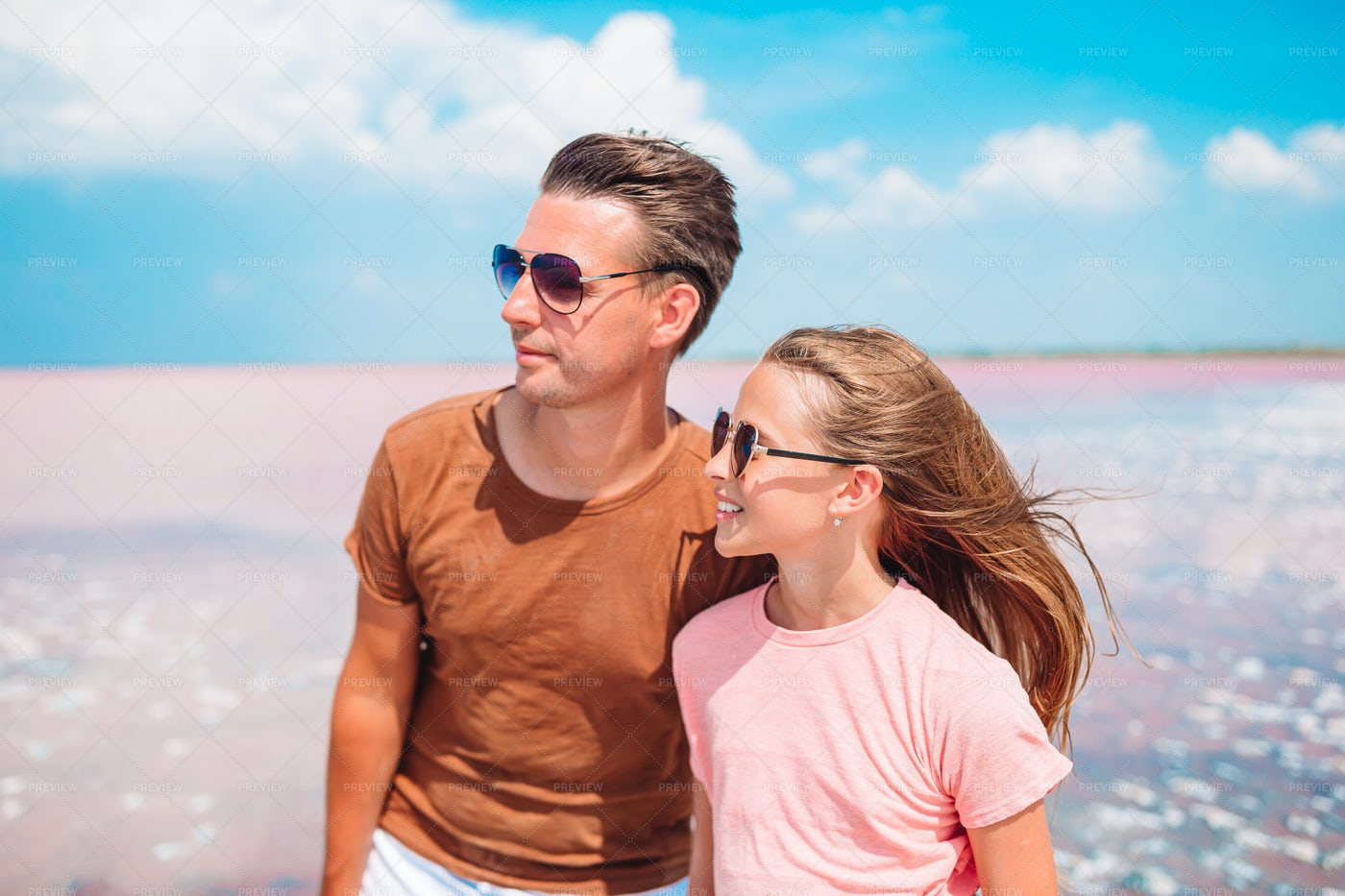 Father And Daughter At Beach: Stock Photos