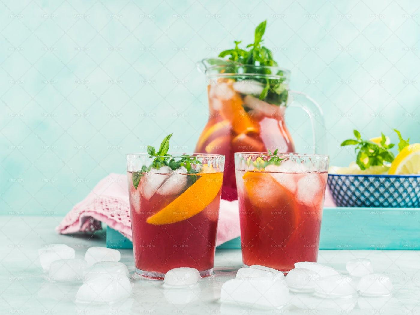 Fresh Red Cocktail Sangria: Stock Photos