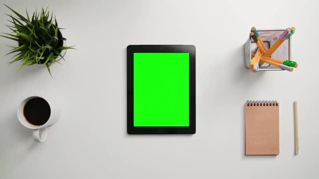 Finger Scrolling On Green Touchscreen: Stock Video